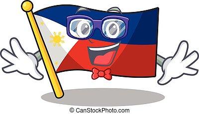 geek, マスコット, 痛みなさい, スタイル, 旗, 極度, 漫画, フィリピン, 面白い
