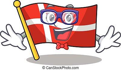 geek, マスコット, 痛みなさい, デンマーク, スタイル, 旗, 極度, 漫画, 面白い