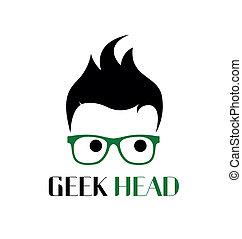 geek, ロゴ, スタイル, template.