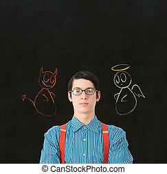 geek, 悪魔, ビジネスマン, 天使, 決定, ∥あるいは∥, チョーク, 教師, 学生, nerd, 作りなさい