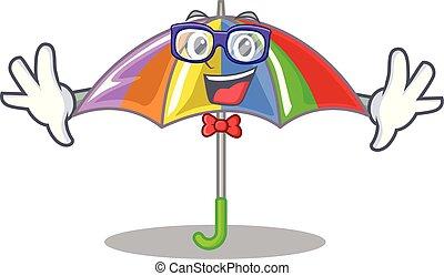 geek, arcobaleno, ombrello, isolato, mascotte