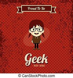 geek, arte, retro, caricatura