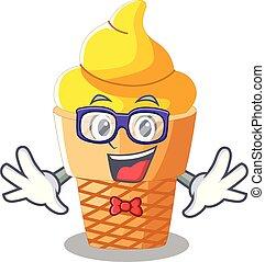Geek banana ice cream isolated on mascot