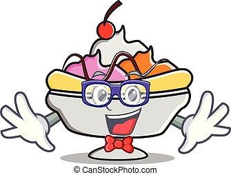 Geek banana split character cartoon vector illustration
