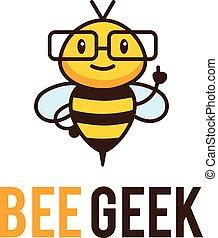 Geek bee mascot logo. Vector cartoon mentor insect character...
