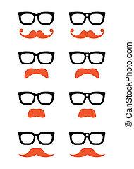 geek, bigode, gengibre, óculos