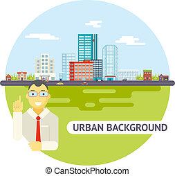 Geek Businessman Urban Landscape City Real Estate Agency Cars Road Modern Flat Design Icon Template Vector Illustration