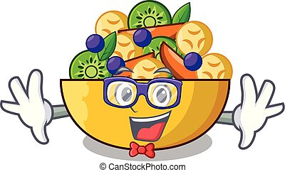 Geek cartoon bowl healthy fresh fruit salad