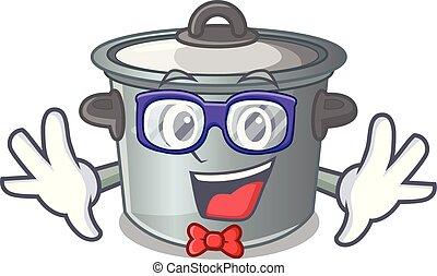 Geek cartoon cookware stock pot in kitchen vector...