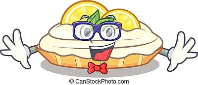 Geek cartoon lemon cake with lemon slice