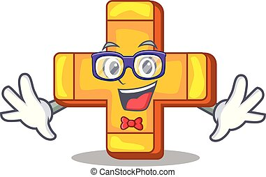 Geek cartoon plus sign logo concept health