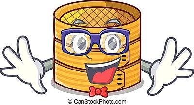 Geek cartoon traditional bamboo for steamed food