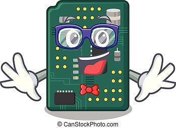 Geek circuit board pcb in cartoon shape vector illustration