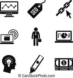 Geek community icons set, simple style