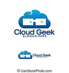 geek, conceptions, vecteur, logo, nuage