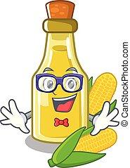 Geek corn oil put into cartoon bottle