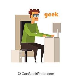 geek, elvont, számítógép, alak