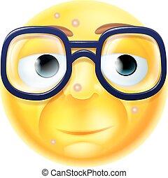 geek, emoticon, eller, nerd