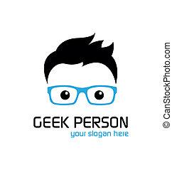 geek, estilo, logotipo, template.