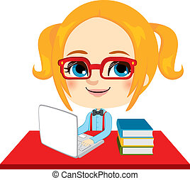 geek, estudante menina