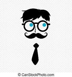 geek, facet, nerd, wąsy