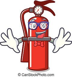 Geek fire extinguisher character cartoon