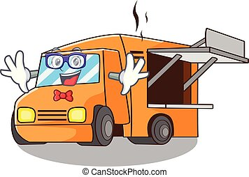Geek Food Truck with Isolated on mascot