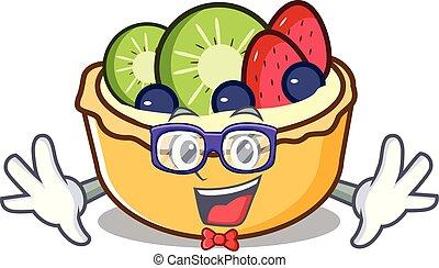 geek, fruit, caractère, dessin animé, tarte