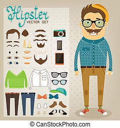 geek, garçon, hipster, caractère, meute