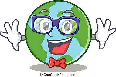 geek, globo mondo, carattere, cartone animato