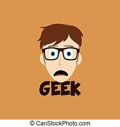 geek guy cartoon face vector art illustration