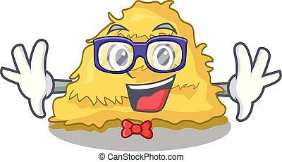 Geek hay bale character cartoon vector illustration