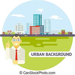geek, homem negócios, paisagem urbana, cidade, bens imóveis, agência, carros, estrada, modernos, apartamento, desenho, ícone, modelo, vetorial, ilustração