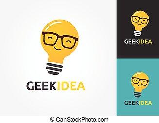 geek, iconen, licht, -, creatief, idee, bol, technologie, bril