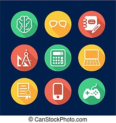 Geek Icons Flat Design Circle - This image is a illustration...
