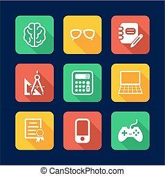 Geek Icons Flat Design