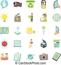 Geek icons set, cartoon style
