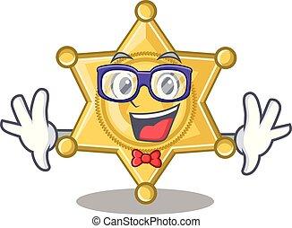 geek, insigne police, étoile, dessin animé
