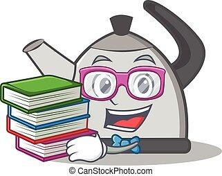 Geek kettle character cartoon style vector illustration