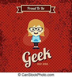 geek, kunst, retro, spotprent