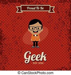 geek, kunst, retro, spotprent