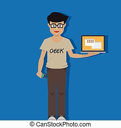 geek, laptop, ember