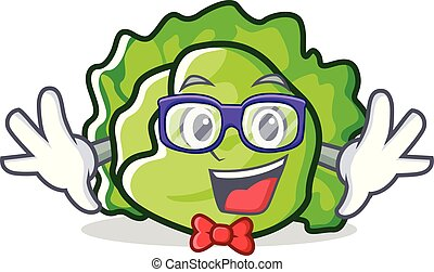 Geek lettuce character cartoon style