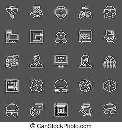 Geek line vector icons