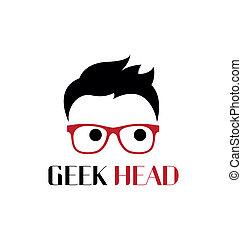 geek, logo, głowa, template.