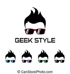 geek, logo, styl, template.