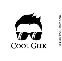 geek, logotipo, sagoma, fresco