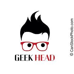 geek, logotipo, template., fresco