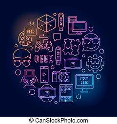 geek, luminoso, rotondo, illustrazione