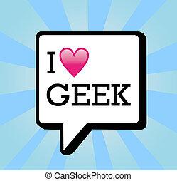 geek, messaggio, amore, fondo, illustrazione